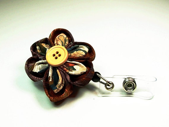 retractable ID badge reel with handmade fabric flower