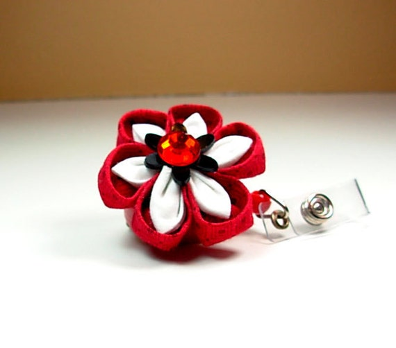 flower ID badge reel in red and black