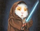 Guinea Pig Jedi Cute Guinea Pig Art Print