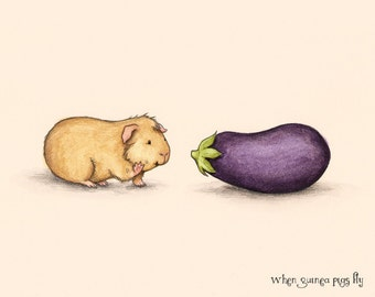 How do you do - Guinea pig with eggplant guinea pig art print