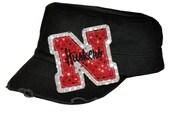 Nebraska Huskers Sequin Cadet Cap or Visor