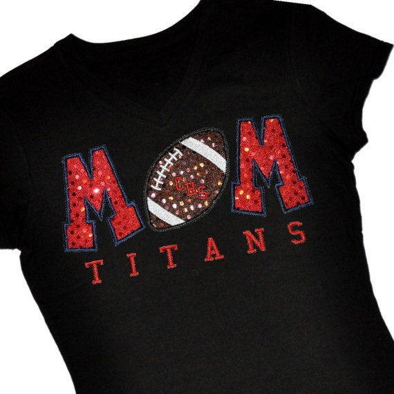 Custom FOOTBALL Mom Sequin Applique Shirt...Personalize with Team or Player Name or Jersey Number
