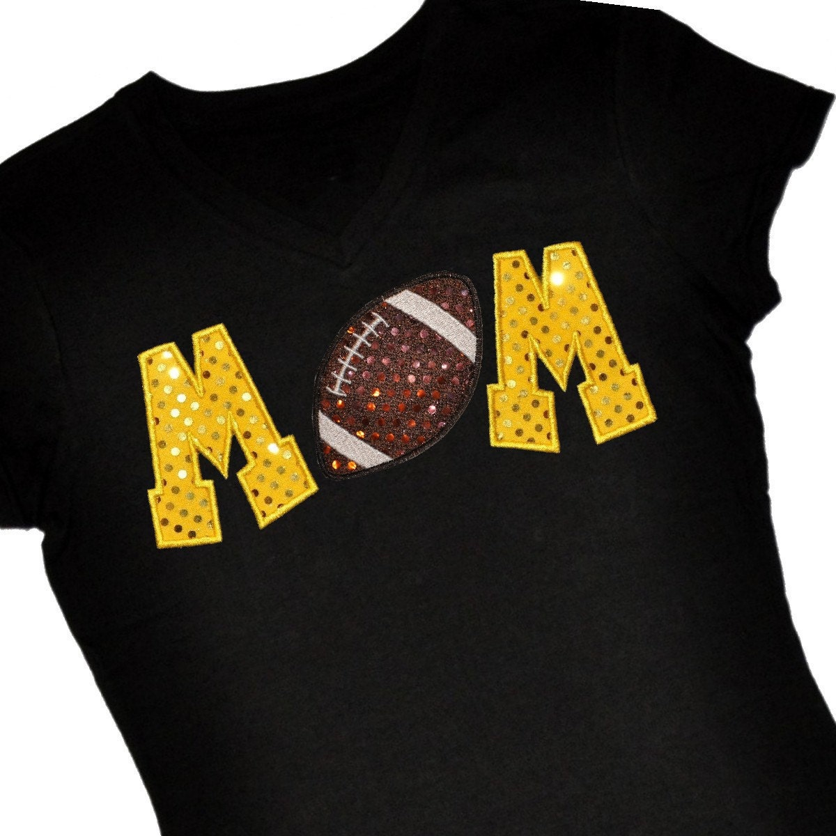 Custom football mom sequin applique shirt personalize with for Personalized football t shirts