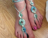Sale Beaded Barefoot Sandals in Blue / Green with Pearl Beads-Made to Order- Beach  Summer  Wedding  Yoga- U.S. Free Shipping