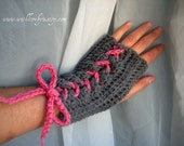 All Laced Up in Grey and Raspberry - Made To Order - Gift under 20