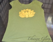 Gold Lotus Blossom- Olive Green Yoga Top