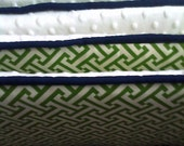 Green, White and Navy Custom Crib Bumper- Boy or Girl