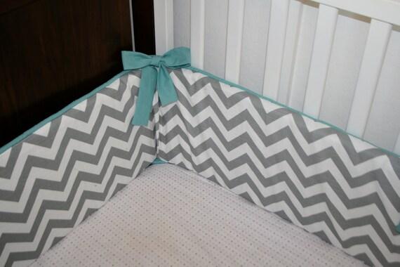 Chevron Custom Crib Bumper- Boy or Girl- YOU PICK DETAILS