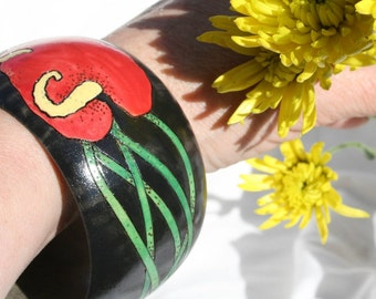 20% OFF Red Flower Wood Bangle Bracelet Painted Pyrographed