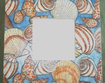 20% OFF Seashells Painted and Pyrographed Wood Photo Frame