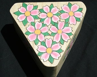 20% OFF Cherry Blossoms Triangular Wood Jewelry or Trinket Box Pyrographed Painted