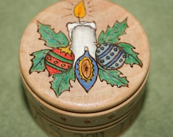 Christmas Candle Round Wood Trinket Box Painted Pyrographed