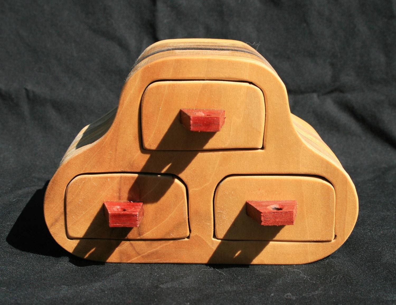 Odd Shaped Wood 3 Drawer Jewelry Or Trinket Box Poplar