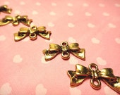 Gold Bow Link / Connector Charms 30pcs