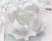 White Polka dot Princess Hair Bow with Crystal Rhinestone Tiara Center