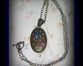 Filigree Oval Copper Bronze Blue Rose Dragonfly Necklace