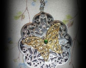 Filigree Green Gem Sliver Gold Butterfly Necklace