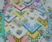 lot 26 ladies hanky with open space vintage style floral handkerchief nice for print wedding invitation