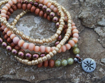 Subtle Sun - Stretch Bohemian Stackable Bracelets - Tribal Hippie - beaded bracelets