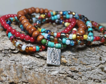 Gypsy Bracelets with Red Mountain Jade, Colorful Mix Czech Glass, Wood Beads and Prosperity Fish Charm