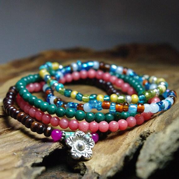 Hippie Bracelets - Stretch Beaded Bracelets - Boho Stack Bracelets