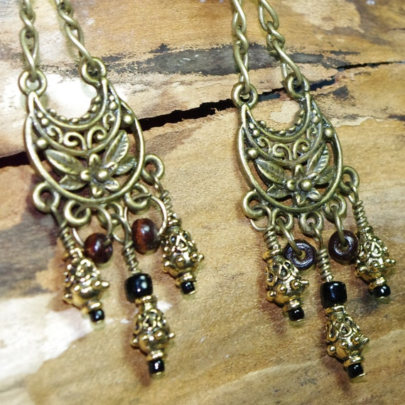 SALE  - Gypsy Rustic Retreat Chain Teardrop Chandelier Earrings