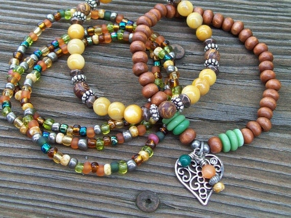 Rivershell and Chrysanthemum Stretch Beaded Bracelets  - Boho - Shell and Wood Bracelet Stack