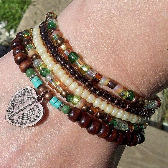 Gypsy Fling Stacking Bracelets with Copper Heart Charm
