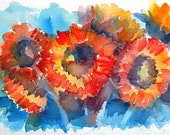 Red Sunflowers Watercolor - Signed Giclee Fine Art Print