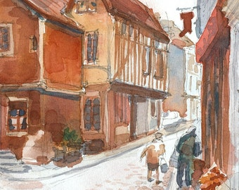 English Street Watercolor - Signed Giclee Fine Art Print