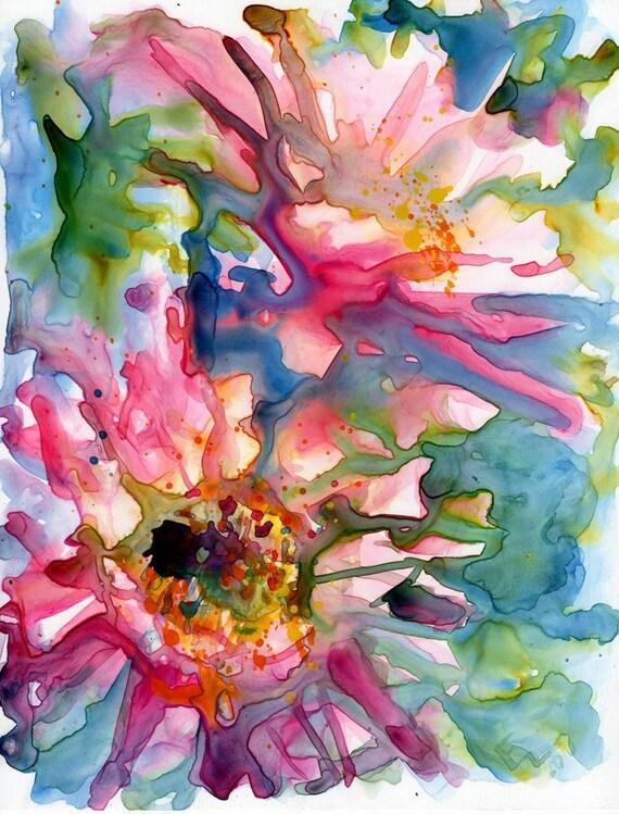 Cactus Flowers - Original Watercolor on Yupo Painting