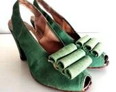 vintage LETTUCE WRAP 1940s green heels