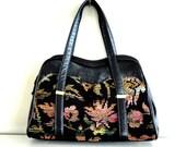 vintage 1960s purse :  leather floral tapestry handbag