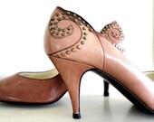 vintage MOCHA BROWN stud stiletto heels