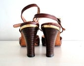 vintage wood stacked shoes: SADDLE BROWN  leather high heels
