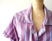 vintage 1970s blouse - 70s striped cotton shirt / PLUM TERRA