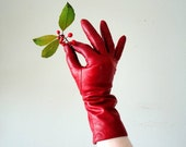 vintage leather gloves : ROMANTiC RED cashmere lined