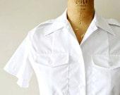 reserved...vintage cotton blouse - bright white nautical uniform shirt