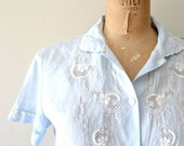 vintage Givenchy blouse : 1970s hand embroidered pale blue linen top