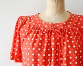 vintage silk blouse : 1980s red white polka dot blouse by Valentino Boutique
