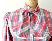 vintage plaid shirt - 1970s secretary blouse /  teal salmon plaid