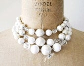 vintage beaded necklace : 1960s snow white metallic 3 strand pearl necklace