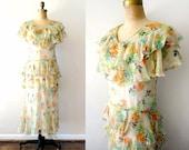 vintage 1920s dress: JARDiN DE FLEUR 20s silk floral print