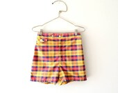 vintage 1960s shorts : red gold 60s plaid shorts