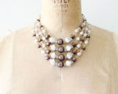 vintage beaded necklace - 1960s toffee brown beads / metallic 4 strand necklace