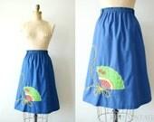 vintage 1970s skirt - 70s spanish fan skirt / navy schoolgirl embroidery