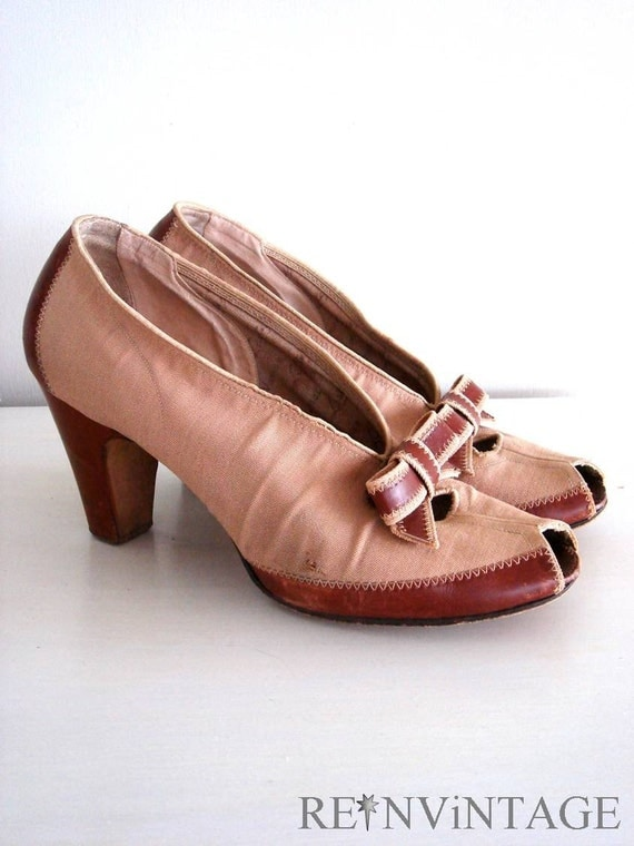 vintage 1940s SEPiA bow high heel shoes