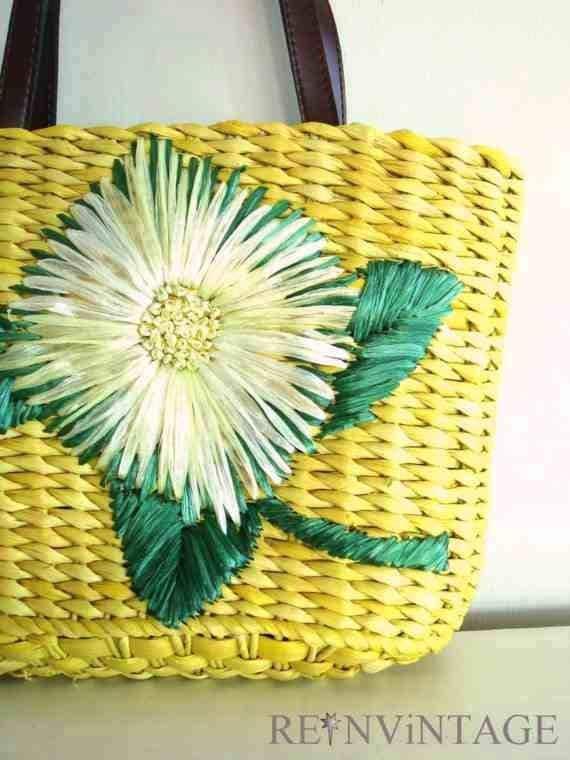 vintage DAiSY straw handbag