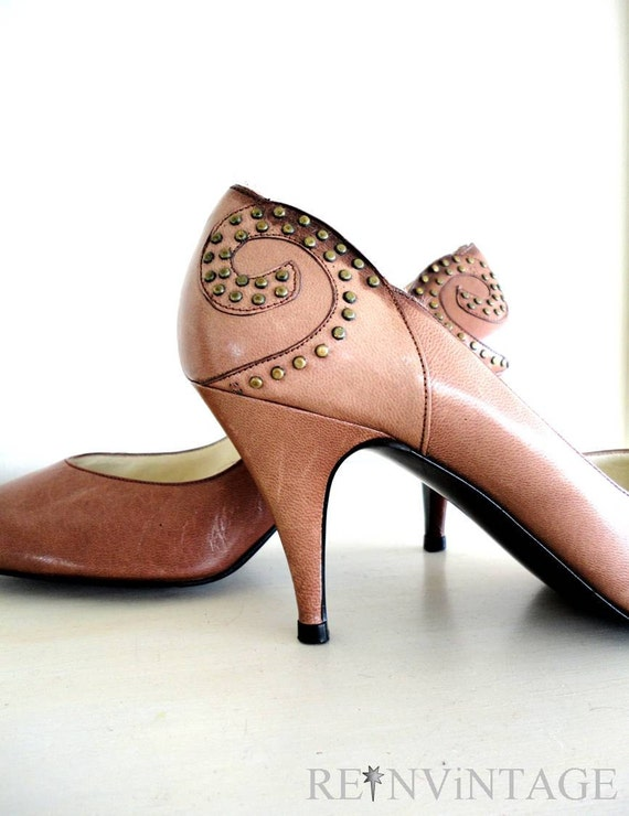 vintage MOCHA BROWN stud stiletto heels