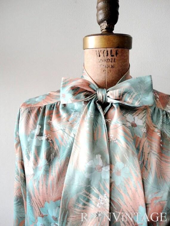 vintage secretary blouse : NUDE SAFARi print shirt